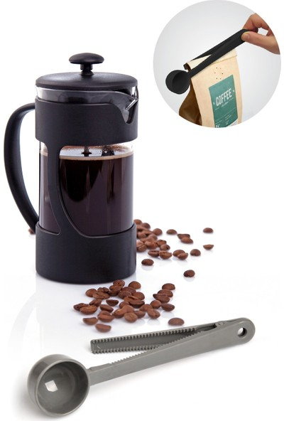 Pazarika Borasilikat Filtre Kahve Demliği ve Klipsli Ölçü Kaşığı Seti
