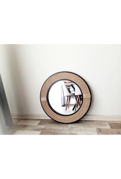 Dfn Wood Siyah Çerçeveli Jut Halatlı Yuvarlak Dekoratif Duvar Salon Banyo Aynası