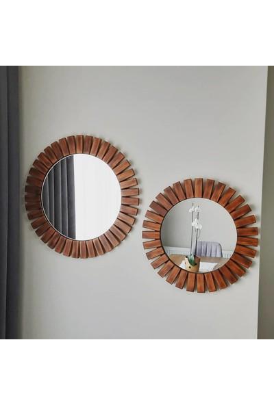 Dfn Wood Masif Ahşap 2'li Yuvarlak Dekoratif Duvar Salon Banyo Aynası