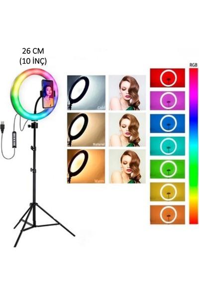 Renksan MJ26 10INÇ Rgb LED Selfie Işığı Tripot Makyaj Rıng Lıght