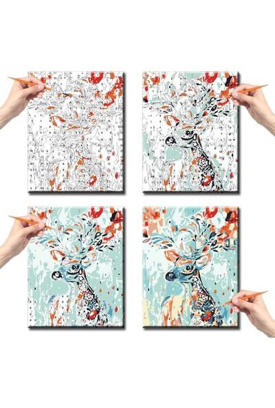 hobi24 Sayılarla Boyama Seti - Numaralı Tablo Boyama 40 x 50 cm - Küp Küp