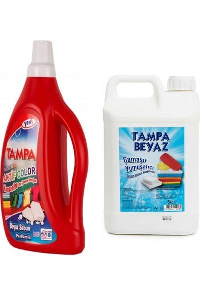 Tampa Renkliler Çamaşır Deterjanı Beyaz Sabun Aktif Color 2 Lt ve Yumuşatıcı Beyaz Sabun Parfümlü 5 Lt