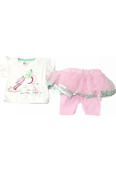 Bebiço Life For Moda Kız Bebek Fırfırlı Yarım Kollu Etek Taytlı Takım