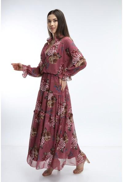 mibapazar Hakim Yaka Çiçekli Şifon Elbise