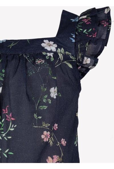 OZMOZ Çiçek Desenli Kız Çocuk Bluz - Lacivert