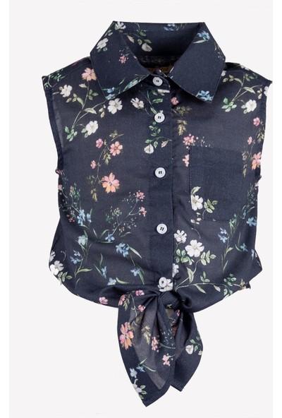 OZMOZ Bağlama Detaylı Kız Çocuk Gömlek - Lacivert