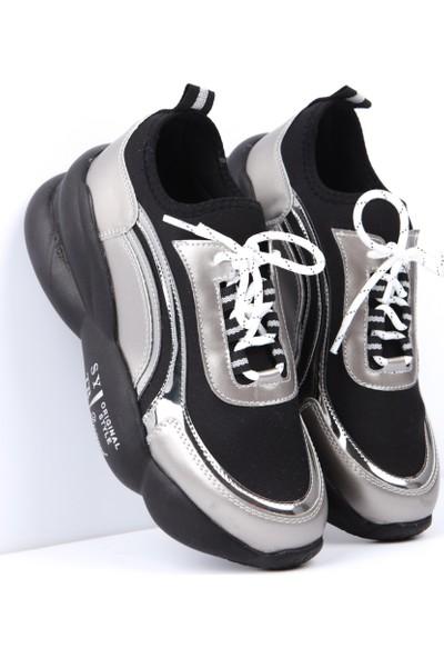 Kirsten Platin Şerit Detaylı Yüksek Tabanlı Bağcıklı Sneakers