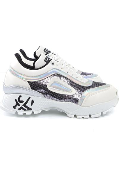 Beyaz Payetli Yüksek Tabanlı Sneakers
