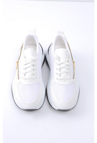 Beyaz Fermuar Detaylı Yüksek Tabanlı Sneakers