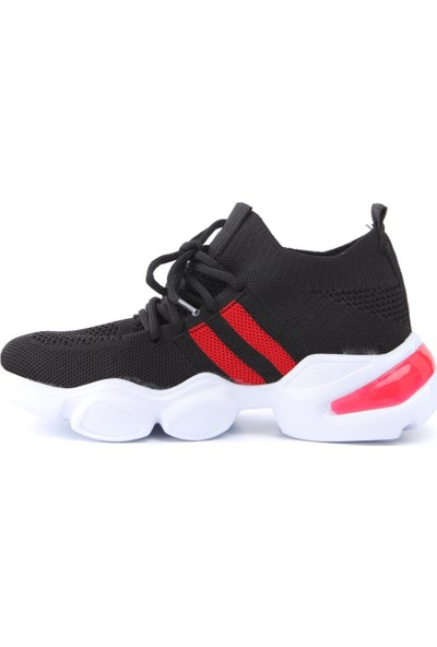 Marissa Siyah Kırmızı Triko Strech Sneakers