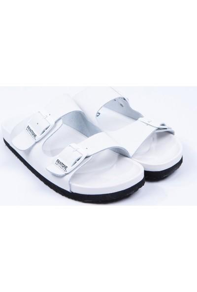 Pantone Beyaz Gerçek Deri Terlik
