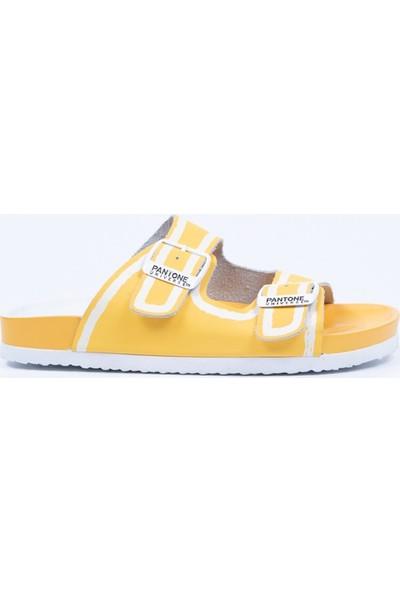 Pantone Sarı Gerçek Deri Terlik
