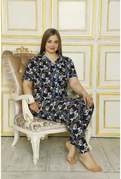 Rinda Yeni Sezon Büyük Beden Düğmeli Kadın Pijama Takımı