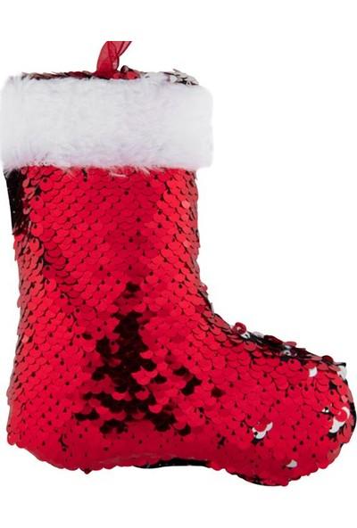 Parti Dünyası Yanar Döner Payetli Kırmızı Noel Ayakkabısı Ağaç Süsü
