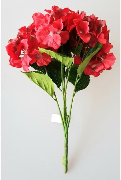 Adresiyapayçiçek 5 Dal Lüx Ortanca Demeti Kırmızı