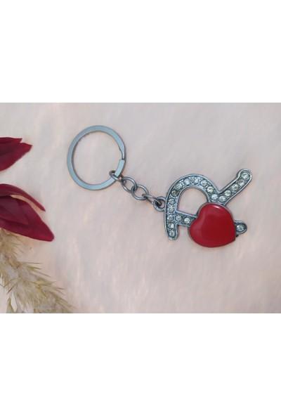 Hdmarketim Çelik R Harfli Kırmızı Kalpli Anahtarlık