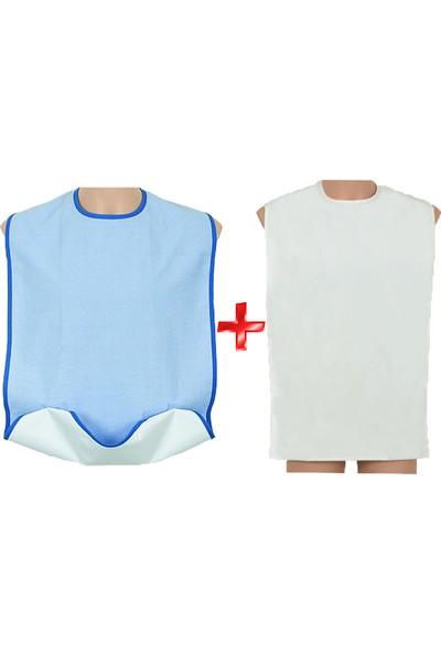 Caress 2'li Mavi Cepli Çıtçıtlı ve Beyaz Çıtçıtlı Yıkanabilir Yetişkin Hasta Yemek Önlüğü