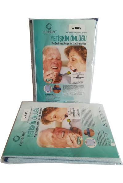 Caress 2'li G885 Cepli - Çıtçıtlı Yıkanabilir Hasta Yemek Önlüğü Mavi Standart Beden