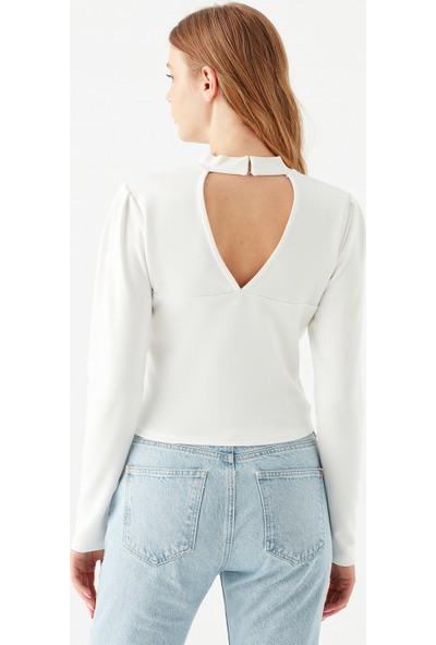 Mavi Kadın Uzun Kollu Beyaz Tişört 1600510-33389