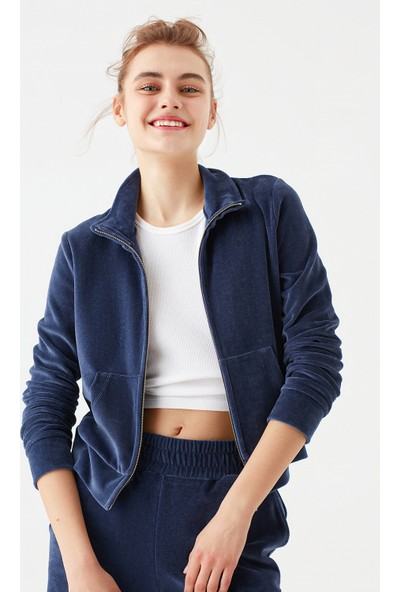 Mavi Kadın Lacivert Kadife Sweatshirt 1601052-35124