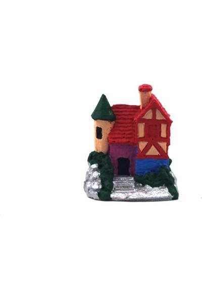 Burdan Eve Kırmızı Çatılı Villa Figür-Biblo Teraryum Malzemesi