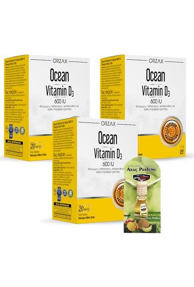 Orzax Ocean Vitamin D3 600 Iu Sprey x 3 Adet + Araba Parfümü