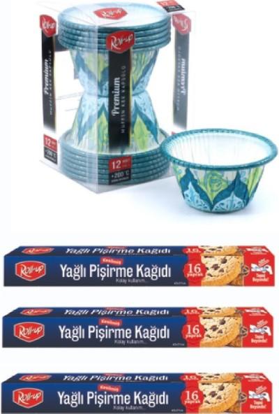 Roll-Up 3 Kutu 16 Yaprak Kesilmiş Yağlı Kağıt ve 12'li Premium Muffin Kapsül Set-2