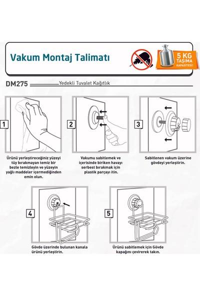 Teknotel Delme Vida Matkap Yok! Vakumlu Yedekli Tuvalet Kağıtlık Krom DM275