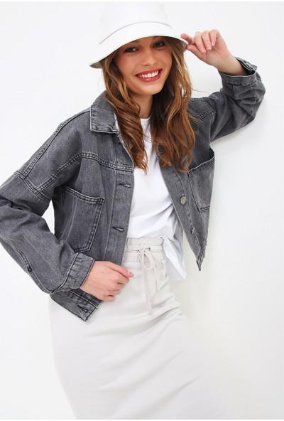 Pinkpark Kadın Antrasit Crop Denım Ceket SMD-XTE3631