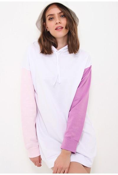 Pinkpark-Kadın Lila Renk Bloklu Kapşonlu Sweatshirt Elbise SMD-018-109-BLK