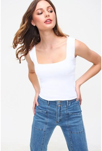 Pinkpark Kadın Beyaz Kare Yaka Crop Triko Bluz SMD-XHT5649