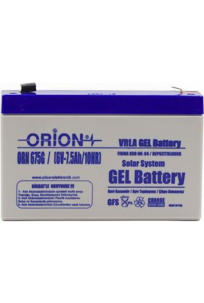 Orion ORN675G 6V 7.5AH Bakımsız Jel Akü