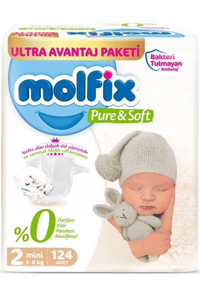 Molfix Pure Soft 2 Beden Mini 124'LÜ Bebek Bezi