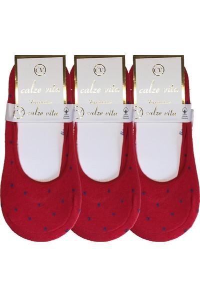 Calze Vita 3 Çift Kırmızı Puantiyeli Kadın Babet Çorap