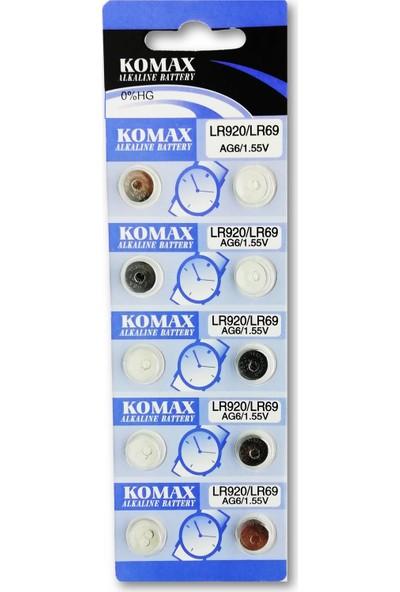 Komax Alkalin Pil - Ag6 / LR920 Düğme Pil 1,55V - 10'lu Paket
