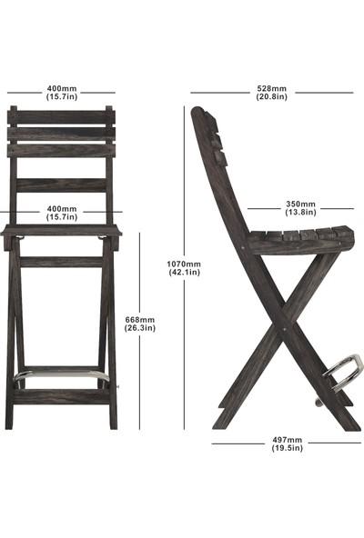 Interbuild Sofia Bar Sandalye Bahçede/Balkonda/Terasda Arkalıklı ve Katlanabilir 2 Adet / Paket Renk:Espresso