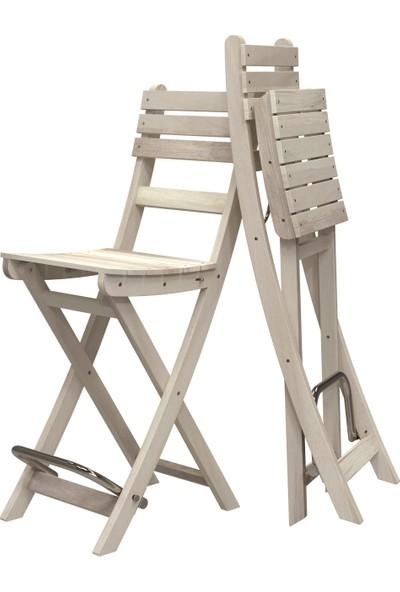Interbuild Sofia Bar Sandalye Bahçede/Balkonda/Terasda Arkalıklı ve Katlanabilir Paket Renk:Organik Beyaz 2 Adet