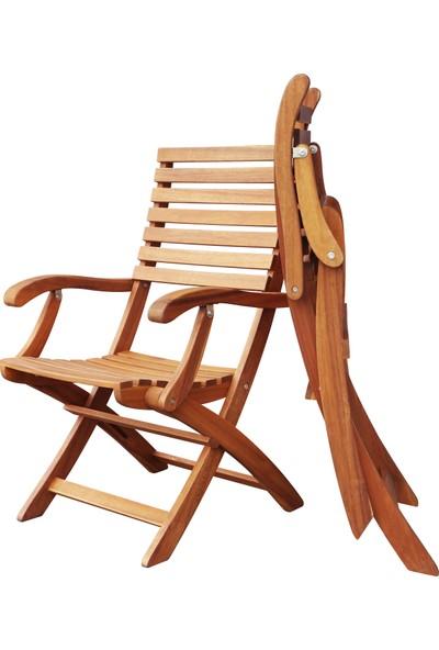 Interbuild Casino Ahşap Koltuk Dış Mekan Bahçe ,Veranda ,Balkon Sandalyesi Katlanabilir,Sırt ve Kol dayama 2 Adet