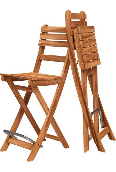 Interbuild Sofia Bar Sandalye Bahçede/Balkonda/Terasda Arkalıklı ve Katlanabilir 2 Adet / Paket Renk:Altın Teak