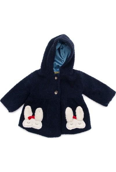 Cumino Rabbit Lacivert Kapşonlu Tavşan Işlemeli Peluş Kız Bebek Mont