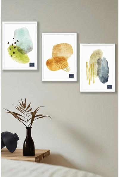 TURUNCU SARI MAVİ - 3'lü Özel Tasarım Çerçeveli Dekoratif Poster Tablo Seti - Beyaz Çerçeveli