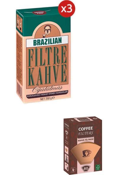 Kurukahveci Mehmet Efendi Brazilıan Filtre Kahve 250 gr 3'lü +Filtre Kağıdı