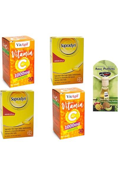 Koenzim Q10 30 Tablet ve Vitagil Vitamin C Tablet Seti x 2 Adet + Araba Parfümü