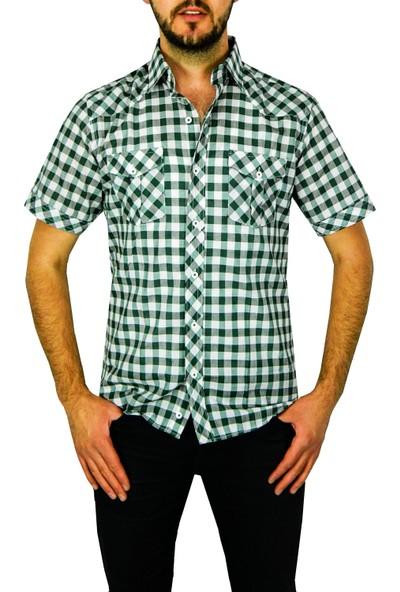 Compact Erkek Keten Çift Cep Slim Fit Kısa Kol Gömlek 30201