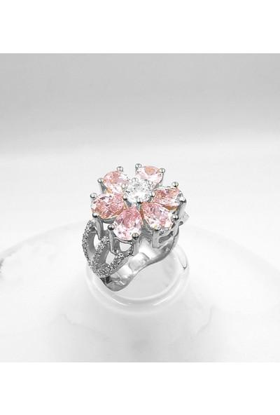 Mavili Pembe Taşlı Sevgi Çiçeği Gümüş Yüzük Gümüş