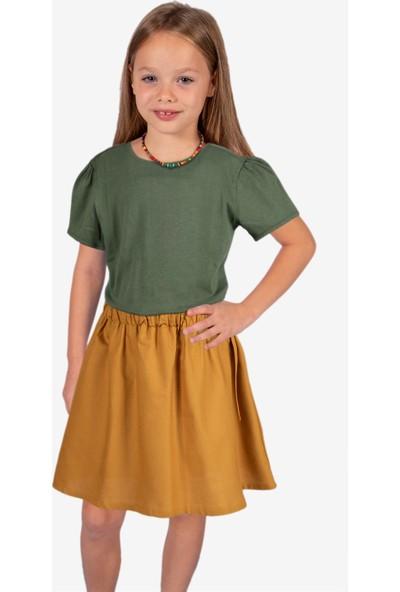 OZMOZ Kolye Hediyeli Haki Kız Çocuk Organik T-Shirt