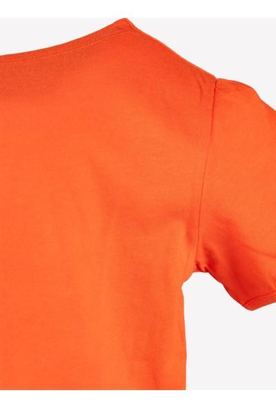 OZMOZ Kolye Hediyeli Turuncu Kız Çocuk Organik T-Shirt