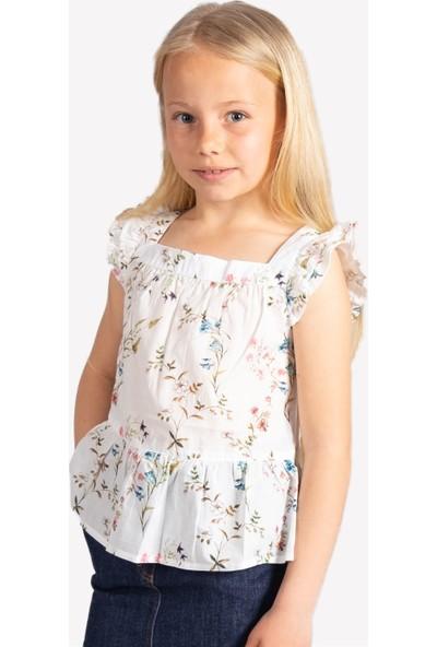 OZMOZ Çiçek Desenli Kız Çocuk Bluz - Ekru