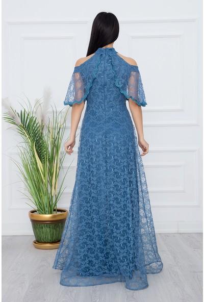 Kalopya 13328 Dantel Abiye Uzun Elbise