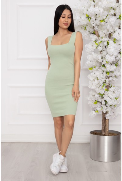 Kalopya Bayan Askılı Kareyaka Triko Elbise NT1023